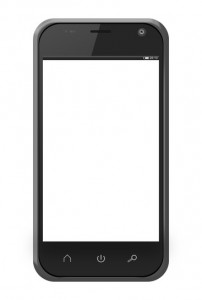 Realistic mobile phone with blank screen isolated on white backg